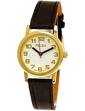 Elegante Kleine Pelex London Damen-Uhr Analog Quarz Armband-Uhr Klassisches Design Schwarz Gold Weiß
