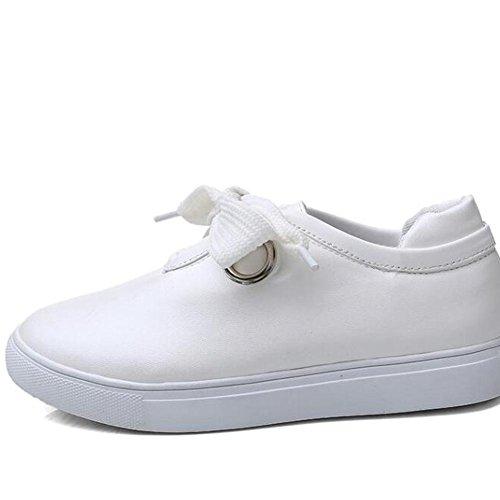 L@YC Pattini piani delle donne scarpe versatili delle donne casuali nei panni Primavera Student Tie Bianco Bianco Nero White