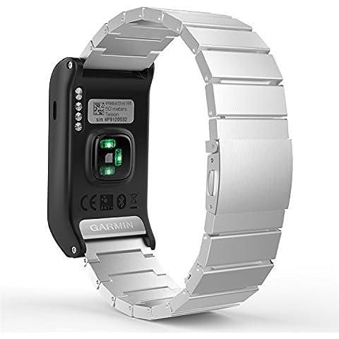 MoKo Garmin Vivoactive HR Watch Cinturino, Braccialetto Regolabile in Acciaio Inossidabile con Chiusura Pieghevole con Strumenti per Garmin Vivoactive HR Sports GPS Smart Watch - ARGENTO