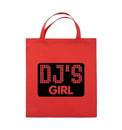 Comedy Bags - DJ'S GIRL - NEGATIV PUNKTE - Jutebeutel - kurze Henkel - 38x42cm - Farbe: Schwarz / Pink Rot / Schwarz