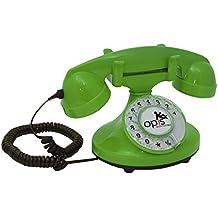 OPIS FunkyFon cable: Teléfono con disco de marcar en el estilo sinuoso de la década de 1920, con un timbre electrónico moderno (verde)