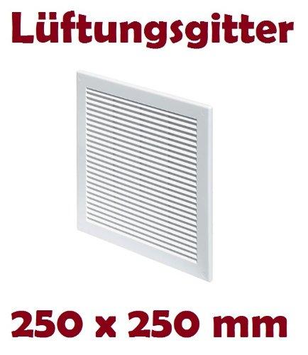 Lüftungsgitter Abschlussgitter Insektenschutz Abluft Zuluft Gitter Ventilator 250 x 250 mm TRU8 weiß