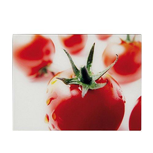 Zeller Glas Schneideplatte, Motiv Tomate, Küchen Schneidebrett, 2 Größen, Servierbrett, Servierplatte, (Mittel 30x20cm)