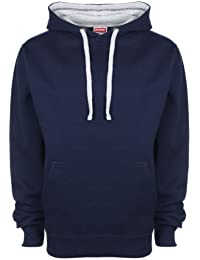 FDM Unisex Contrast Hoodie Navy/Heather Grey XL
