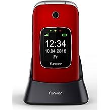 Teléfono Móvil Funker C85 Easy Comfort Rojo para personas mayores con botón SOS y base cargadora.