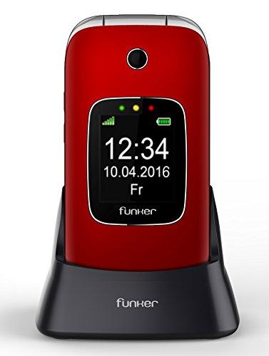 Foto de Teléfono Móvil Funker C85 Easy Comfort Rojo con tapa para personas mayores con botón SOS y base cargadora.