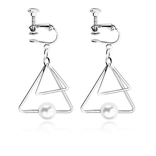 Моника Retro Doppel Dreieck Perle Ohrringe Mehrschichtige Geometrische Ohrclips Schraube Clips Kreative Schmuckstücke Valentinstag, Silver,B