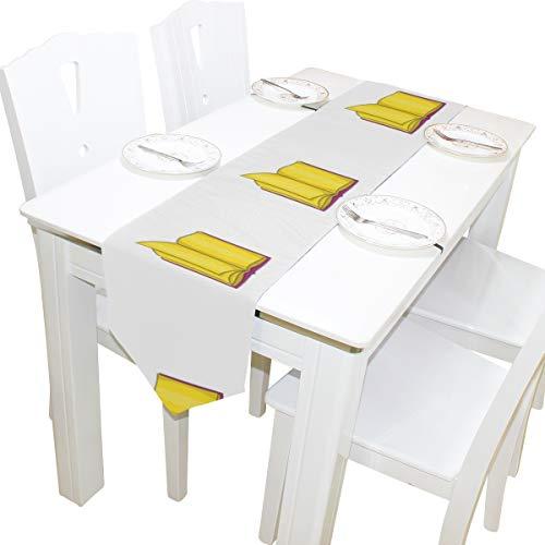 Yushg Dickes Buch Papiere Zeichen Kommode Schal Tuch Abdeckung Tischläufer Tischdecke Tischset Küche Esszimmer Wohnzimmer Home Hochzeitsbankett Dekor Indoor 13x90 Zoll