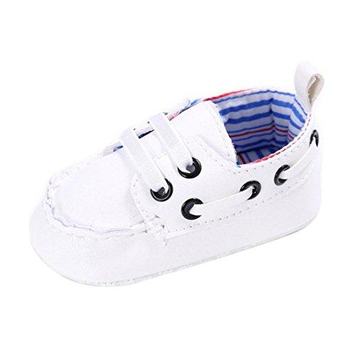 Saingace Baby-Schuhe Jungen-Mädchen Neugeborene Leder-Krippe Soft-Sole-Schuh-Turnschuhe Weiß