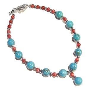 Collier - Turquoise, Corail Et Metal Argent De Style Tibétain