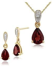 Gemondo 9ct Gelb Gold Pear Mosambik Granat & Diamant Ohrringe und 45cm Halskette Set