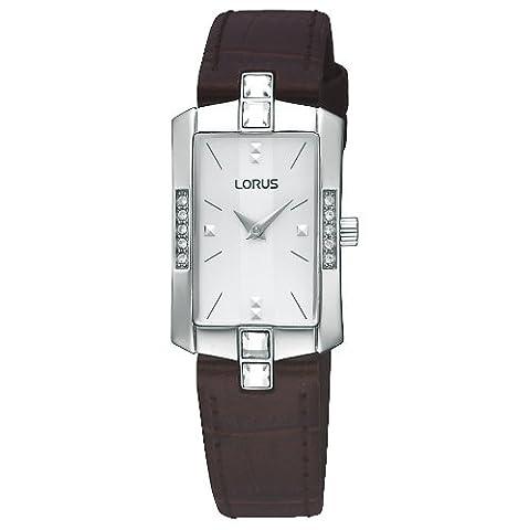 Lorus by Seiko Ladies Silver Dial Stone Set Brown Leather