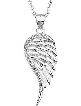 S925 Sterling Silver Touch des Himmels-Engels-Flügel-Charme-Anhänger-Halskette mit Gepflasterte Kristalle, Geschenkkarton
