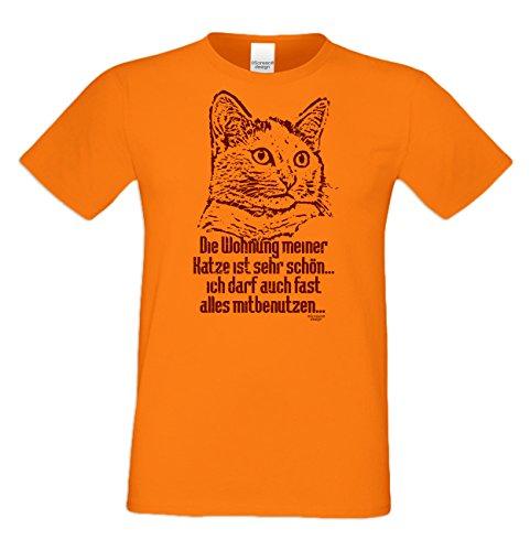 Die Wohnung meiner Katze :: Lustiges Sprüche Fun T-Shirt mit Tiermotiv für Herren :: Geschenkidee für Ihn Geschenk für Katzenliebhaber Katzenfans Farbe: orange Orange