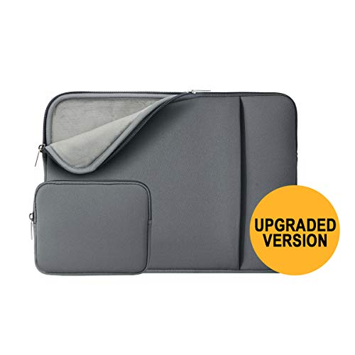 "RAINYEAR 14 Inch Laptop Sleeve Protective Case Soft Fluffy Lining Cover Carrying Bag with Front Pocket & Accessories Pouch,Compatible with 14"" Notebook Computer Chromebook(Grey,Upgraded Version)"