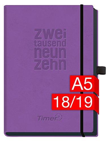 Chäff-Timer Deluxe A5 Kalender 2018/2019 [lila] 18 Monate Juli 2018-Dezember 2019 - Gummiband, Einstecktasche, Stifthalter - Terminkalender mit Wochenplaner - Organizer - Wochenkalender