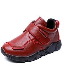 Zapatos de Cuero con Velcro Pisos para niños Zapatos Individuales Transpirables Niños Mocasines Marrones Niño pequeño