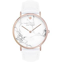Reloj de pulsera reloj de pulsera con cronógrafo en colour: blanco/oro rosa colgante triángulo hippie braga Trend rosas Flor Reloj de Basilea-Stil Rosenmuster de flores rosa oro pulsera trenzada de anclaje de rayas mural sobre muelles de BÚHO BIGOTE