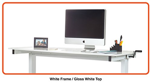 Höhenverstellbarer Schreibtisch (Rahmen weiß / Hochglanzdeckel weiß, Schreibtisch Länge: 150cm) -