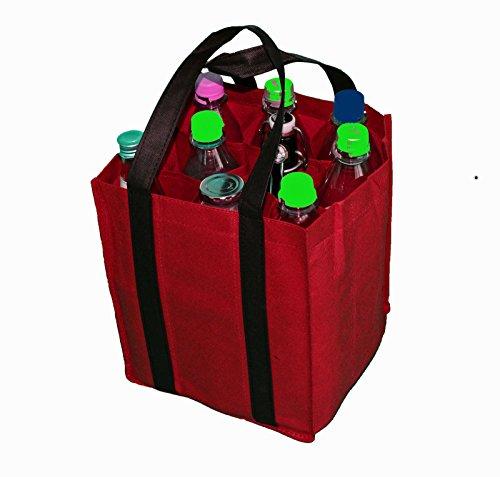 Bottle Bag Bottle Bag Bag Shopping Carrier Bag Bottle Basket Carrier, red, 27x23x21cm