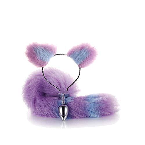 Ohren, rosafarbener Fuchsschwanz, rosafarbener Schwanz mit Ohren, Geschenk für Tag und Halloween, Violett ()