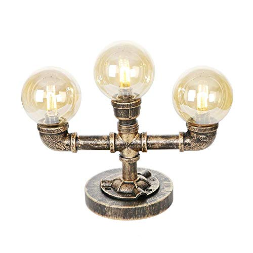 LYDB Steampunk Industrial Vintage Bronze Wasserpfeife Schreibtisch Tischlampen - 3 Lichter Nachttisch Desktop-Lampe mit Bernstein Global Glass Shade - G4 LED-Lichtquelle Nicht enthalten