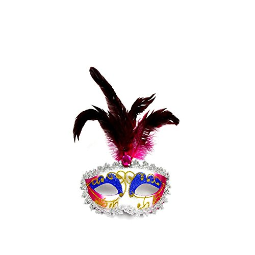 Black Beauty Feder Maske - Maskerade,Halloween Weihnachten Make-up Prom Venedig Feder
