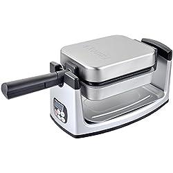 H.Koenig Gaufrier Réversible Rotatif 180° Professionnel Electrique Inox GFX360, Plaques Amovibles antiadhésives, Facile à nettoyer, Appareil à Gauffres, Waffle Maker, Rangement facile, Ecran LCD