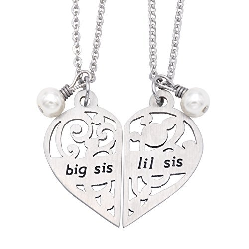 O.RIYA Big Sis Lil Sis Necklaces Set for 2 ,2pcs/set Big Sis Lil Sis Little Sister Bff Best Friends Forever , Stainless Steel Pinky Promise Big Sis Lil Sis Necklace Set