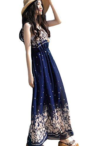 BININBOX Damen Sommerkleid Chiffonkleid Ärmellos Rundhals Strandkleid lang Geblümt in verschiedene Farben Blau