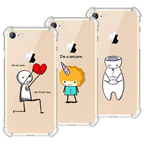 KOTPARX Kompatibel mit Hülle iPhone 7 / iPhone 8 Silikon Transparent Durchsichtig Handyhülle Schutzhülle TPU Ultra Dünn Slim Kratzfest mit Motiv Muster - Roboter + Herz + Einhorn