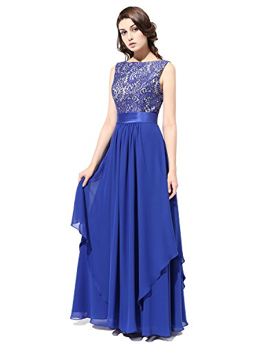 Bridesmay Lang Chiffon V-Ausschnitt Brautjungfern Kleid Party Abendkleider Royal blue Gr??e 42