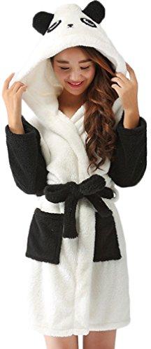 Preisvergleich Produktbild FLYCHEN Mädchen Bademäntel Panda Schlafanzug Hoodie Cartoon Robe einteilige Nachtwäsche Panda M