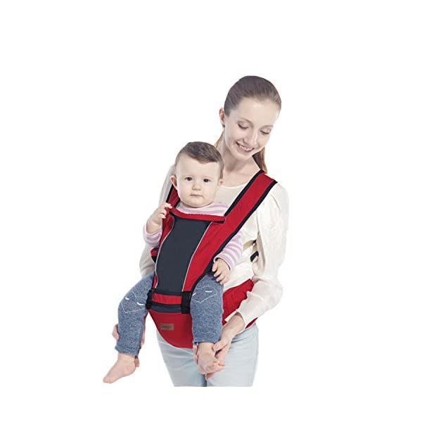 SONARIN 2018 Premium Hipseat Baby Carrier, Front,Horizontal, Multifunctional, Ergonomic,6 Carrying Positions,Safe and Comfortable,Adapted to Your Child's Growing,Ideal Gift(Red) SONARIN Applicable age and Weight?0-36 months of baby, the maximum load: 25KG, and adjustable the waist size can be up to 43.3 inches (about 110cm). Material:designers choose soft Oxford cloth, soft color, good ventilation, strong endurance, no irritation to the baby's skin,to the baby comfortable and enjoyable. Description: patented design of the auxiliary spine micro-C structure and leg opening design, natural M-type sitting. Widen the shoulder strap and belt will be effective to disperse the baby's weight to the shoulder and waist, so that mother more effort. EPP seat core, no deformation, baby sitting more comfortable. 3