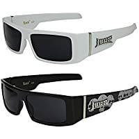 2er Pack Locs 9058 X 01 Sonnenbrillen Unisex Herren Damen Männer Brille - 1x Modell 03 (weiß glänzend/schwarz getönt) und 1x Modell 06 (schwarz glänzend - Bandana-Design blau/schwarz getönt) t9ponL2U