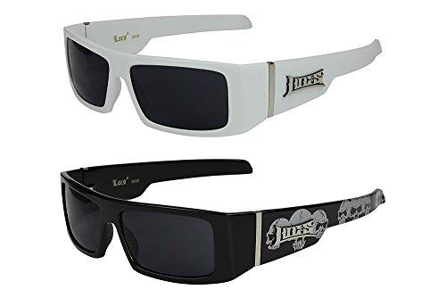 X-CRUZE® 2er Pack Locs 9058 X 11 Sonnenbrillen Unisex Herren Damen Männer Frauen Brille - 1x Modell 03 (weiß glänzend/schwarz getönt) und 1x Modell 07 (schwarz glänzend - Skull-Design/schwarz getönt) (Skull Sonnenbrille)