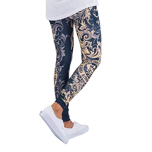 Yakuza Original Damen Floral Leggings Mood Indigo