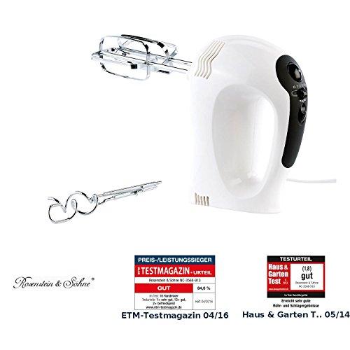 Rosenstein & Söhne Rührmixer: Elektrischer Handrührer, 300 Watt, 5 Geschwindigkeiten, Turbo, 4 Haken (Elektrische Handrührgeräte)