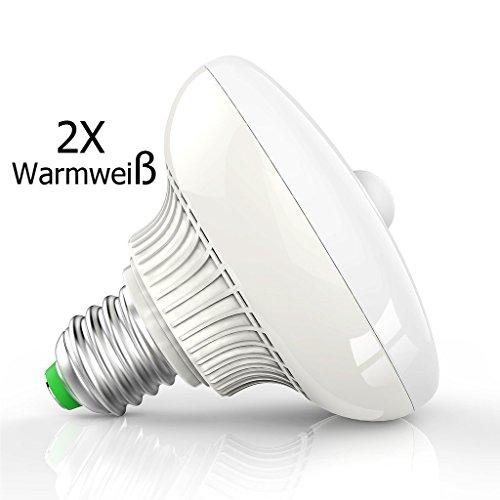 2 Stück E27 Sockel 12W Warmweiß Licht LED Birne Lampe PIR Infrarot Bewegungsmelder Bewegungssensor Lichtsensor Energiesparlampe