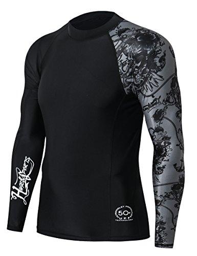 HUGE SPORTS Herren Rash Guard UV Sun Protection UPF50+ Armel Kurze(Schwarz, XL) (Sun Swim Trunks)