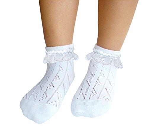 JHosiery Mädchen Pointelle Spitze Socken nahtlose Zehe für empfindliche Füße (31-35, 2 Paar Weiß) -