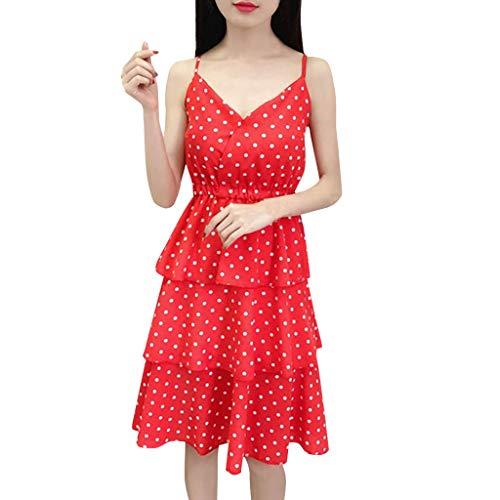 HULKY 2019 Neue Frauen Camisole Dot Kleid Bodycon Enge Passform Sommer Sexy V-Ausschnitt Ärmellos Mehrschichtige Chiffon Flüssigkeit Tüll Flüssigkeit Swing Kleider(rot,L) (Dodgers Halloween-kostüm L.ein)