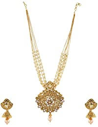 Anuradha Art Golden Colour Studded Beads Wonderful Traditional Long Pendant Necklace Set For Women/Girls