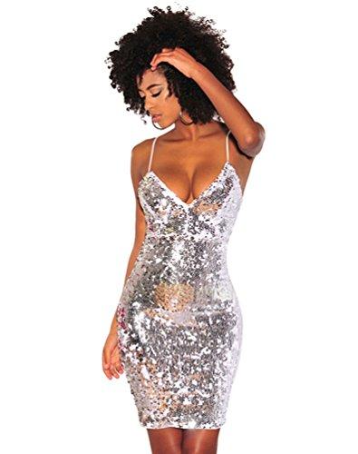 CHENGYANG Damen Minikleid V-Ausschnitt Rückenfrei Pailletten Partykleid Bodycon Cocktail Kleider...