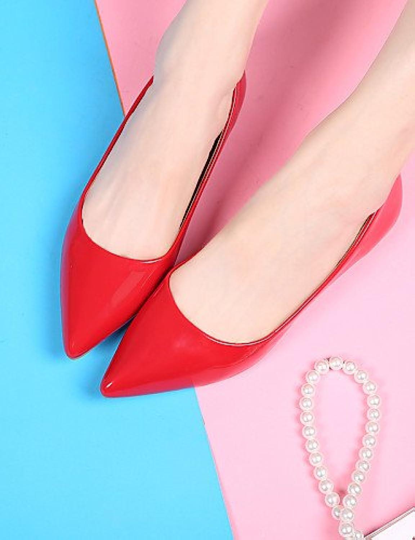 PDX/Damen Schuhe flach Ferse Ballerina/spitz/geschlossen Zehen Wohnungen Kleid Schwarz/Rot/Beige