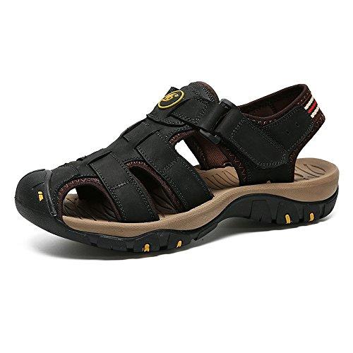 Fangs-sandali, 2018 scarpe da uomo, scarpe da donna in vera pelle morbida antiscivolo per uomo e donna (color : black, size : 46 eu)