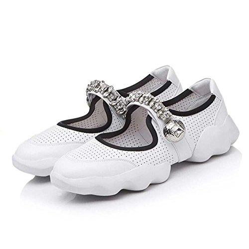 Mary Janes Filato netto Cavo vera pelle Sport sandali Scarpe casual Donne  traspirante Semplice Diamante Cinghia