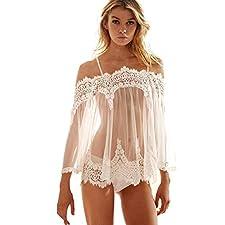 MORCHAN Femmes Lingerie Babydoll vêtements de Nuit sous-vêtements en Dentelle Robe de Nuit + String
