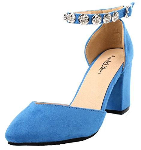 AgeeMi Shoes Damen Spitz Zehe Blockabsatz mit Schnalle Knöchelriemen Pumps,EuD24 Hellblau 40