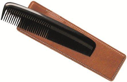 Taschenkamm mit Etui, handgesägt, Kunststoff, schwarz, 13 cm